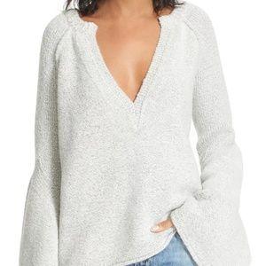 Free People Light Grey Bell Sleeve Knit Sweater XS